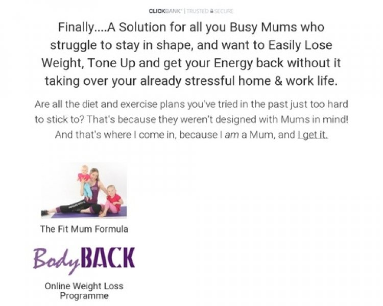 Mum's 'bodyback' Weight Loss Plan